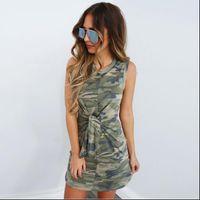 Neck Summer Party Camouflage Print Sleeveless Tie Bandage Women Tshirt Dress Casual Slim Bag Hip Vestidos O Sexy Womens Dresses