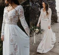 Crochet Cotton Lace Wedding Dresses 2021 Hippie Beach Boho Fairy Chiffon Skirt Long Sleeve Champagne Lining Bridal Gown