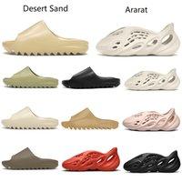 2021 с коробками тапочки Kanye West Sandals обувь Трехместный черный белые желтые горки носки костные смолы пустынные песочные земля коричневые мужчины женские тапочные кроссовки yezys yezzys