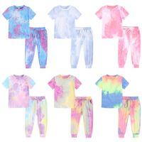 kids Clothing Sets girls boys Gradient outfits children Tie dye Tops+pants 2pcs sets summer Fashion Boutique baby clothes Pajamas Z3877