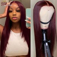 Lace Wigs Hd Front Human Hair Preplucked Burgundy 13X1 180% Brazilian Straight Wig For Women Remy 99J Red