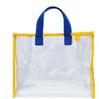 Large Capacity Transparent Clear PVC Hand Bag Tote Swimming Bag Fashion Waterproof Outdoor Travel Wash Cosmetic Bags Swimsuit Storage Handbag G701JU1