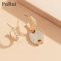 Geometric Luxury CZ Crystal Hoop Earrings For Women 2021 Asymmetric Wedding Engagement Jewelry Gifts Accessories & Huggie