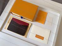 Top Quality Genuine Leather Tither Luxury Designer Designer Moda Moda Homens Homens Bolsas Mens Chaveiro Cartão de Crédito Moeda Mini Carteira Saco Charme Brown Canvas