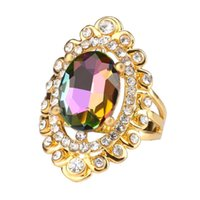 Trouwringen Retro Ring Classic Punk Style Rainbow Glass Gold Color for Women Aneis Imitated Crystal 238