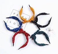 Bandes de cheveux de lapin Polka Dot Bezel Hoop Hoop pour femmes Top Nœud Cheveux Band Bandeau Bandeau de la mode Accessoires de cheveux 1094 V2