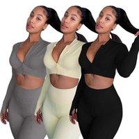 3 Colors Women Clothing 2 Piece Pant Set Zipper Top Solid Sport Slim Yoga Wear