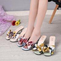 Hausschuhe High-Heeled Shoes Dame Nette Schmetterlingsknoten-Gelee-Gelees-Fashion Slips Frauen Mädchen Transparent Luxus Weiche dünne 20211