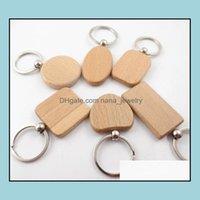 Schlüsselanhänger Mode AsgéeNatürliche Holzring Eine Vielzahl von Formen Runder quadratisch Herz Schlüsselanhänger Ctrative Anti Lost Wood Keychain T391 Drop D