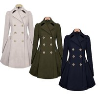 Women Long Trench Coat Fashion Casual Double- Breasted Lapel ...