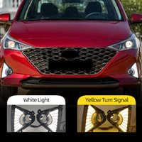 2PCS Auto LED Daytime Running Light For Hyundai Accent Solaris 2021 2022 with Yellow Turn Signal DRL Fog Lamp cover