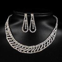 Moda simple lujo elegante mujeres aleación diamantes de imitación de la aleación conjunto de novia dama cuelga pendientes collares accesorios de joyería collar