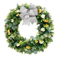 Artificial Easter Wreath Spring Summer For Front Door Wall Window Wedding Party Farmhouse Home Decor Decorative Flowers & Wreaths