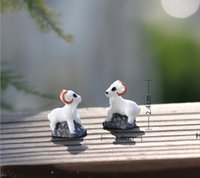 Садовые украшения 30 шт. MOQ Высокое качество Прекрасный Мини ручной работы белый козел фея миниатюрный пейзаж дома декоративные животные использования DHE6477