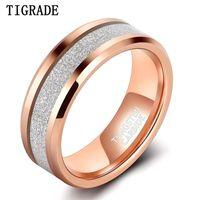 Tigrade 8mm Männer Frauen Wolfram Ringe Rose Gold Silber Farbe Matte Band Luxus Komfort Fit Größe 7-13
