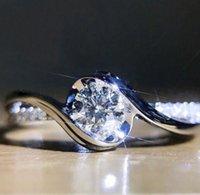 Geometric ring super flash diamond With Side Stones zircon engagement female