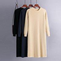 Casual Dresses Basic Autumn Winter Straight Sweater Dress Elegant Knit Robe O-neck Women Loose Long Female Chic