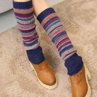 Calcetines recién diseño mujeres invierno calentadores de pierna cálida lana tejer alto rodilla bota puños moda chicas cobertizas
