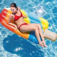 Dev Dondurma Havuz Şamandıra Şişme Blok Mat Popsicles Hava Yatak Su Yüzer Yatak Sırası Yüzer Tüpler