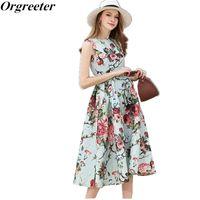 Orgreieter Print Цветочные взлетно-посадочные полосы Платье для вечеринки Лето Повседневная Большой Размер Офис Офис Длинные Mid-Calf 210602