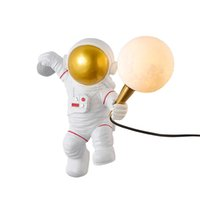 Nordic Astronaut Moon Wall Lamp Creative Restaurant Study Indoor Personality Eye Protection LED Wall Light Bedroom Children's Room Bedside Decorative Lighting