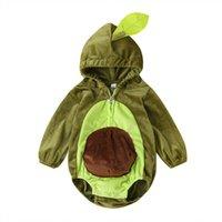 Mababy 6-24m Chaud Hiver Infant Né Bébé Boy Girl Rompers Dessin animé Avocado Longue Manches Peluche Combinaison Combinaison Costumes de bébé 210728