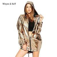 Weyes Kelf Водонепроницаемый Металлический Свободные Свитер с капюшоном Женщины Осень Мода Моджа Женский Пальто Длинные Парки Муджер