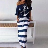 Off Shoulder Blouses Women Dresses T Shirt Amp Striped Maxi Summer Slim Slash Neck 2 Pieces Sets Female Ankle Length