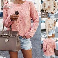 여성 스웨터 스트리트웨어 패치 워크 중공 아웃 디자인 O- 목 긴 소매 솔리드 레이디 가을 캐주얼 느슨한 풀오버 셔츠 1