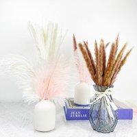Fleurs décoratives Couronnes de mariage Table de mariage rose blanc naturel d'autruche plumes bouquet de bouquet pampas herbe avec vase floridale sto