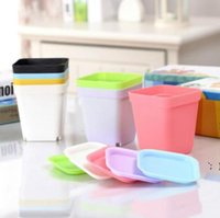 Mini macetas con chasis Colorido Plástico Nursery Pot Flowers Planter para Gerden Decoration Home Office Desk St Planting BWC7574