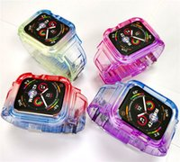 Transparent Straps Gradient Colour Integrated Watchcase Against Falling TPU Protective Replacement Bracelet Bands for Apple Watch iWatch 7 6
