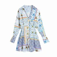 Vintage Patchwork Print Shirt Dress Women Lapel Collar Long Sleeve Casual Loose Ropa Mujer Summer Plus Size Short Vestido 210514