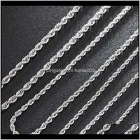 Chains Necklaces & Pendants Drop Delivery 2021 Hip Hop Sier Plated Stainless Steel M Twisted Rope Punk Hippie Rock Chain Womens Choker Neckla