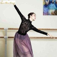 Ballett-Trikots für Frauen Sexy Black Lace High Collar Gymnastik Dancewear Yoga Bodysuit Erwachsene Professionelle Ballettkostüme