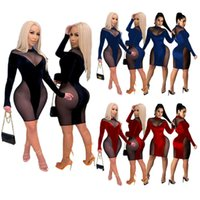 Plus size 3XL Women night clubs wear sexy sheer dress black mesh miniskirt long sleeve skinny one-piece dress fashion package hip skirt 4418