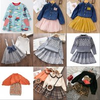 Bear Leader Girls Dress 2021 Winter Geometric Pattern Dress Long Sleeve Girls Clothes Top Coat+ Tutu Dress Sweater Knitwear 2pcs 1705 Y2