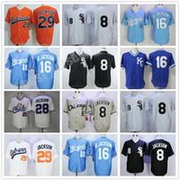 Bo Jackson Vintage Jersey College Baseball Herren 29 Orange genähte Memphis Chicks University 16 blau 8 Schwarz
