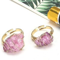Cluster Rings Fashion Wire Wrap Natural Rock Mineral Quartz Stone Women Resizable Healing Amethysts Fluorite Purple Crystal