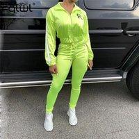 Yansıtıcı 2 Parça Set Kadın Spor Suit Bayanlar Eşofman Seksi Üst Ve Pantolon Kadın Sonbahar Neon Kıyafetler Eşleştirme Setleri Kadın İki