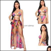 Bikinis Equipo Outdoors OutdoorsWomen Bikini Set 3 piezas Impreso Traje de baño Beach Er-Ups Chicas Streap Traje de baño Mujer Sexy Falda Agua Deportes Sols