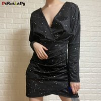 Deruilady Spring Femme Robe 2021 Sexy Slim Col V-Col Robes pour femmes 3D Imprimé Guchure Party Mini Robe Femelle Robe Vestidos