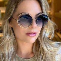 Óculos de sol Luxo Fogo Crystal Mulheres Círculo Oco Quadro Sol Óculos de Sol Feminino Elegante Gato Brilhante Olho ao redor Eyewear