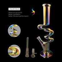Bondos de água de vidro colorido bongos de fumar tubulações de fumar plataformas de gelo borbulhante chicha chicha no escuro bong downstem perc com tigela de 14mm