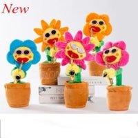 2021 Dance Sunflowers carino incantevole peluche peluche giocattoli musicali fatti a mano luminescenza incantesimi elettrici fiori nuovo stile sax sing danza divertente styling cambiamento
