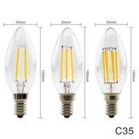 المصابيح جودة عالية c35 2 واط 4 واط 6 واط 8 واط الصمام شمعة E14 / E27 خمر الرجعية مصباح 240 فولت 220 فولت خيوط للديهارة الإضاءة