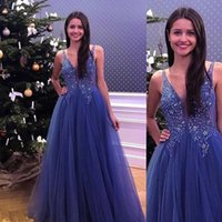 Design Cheap See Through Blue Tulle V Neck Long Prom Dresses 2021 Evening Gowns For Women