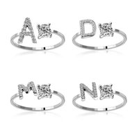 26 Alfabeto inglés letra banda anillos diamante oro plata anillo ajustable para mujeres niñas al por mayor 403 b3