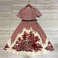 2021 여름 드레스 우아한 기질 벨트 슬림 코코넛 나무 스트라이프 단어 큰 스커트 블라우스 여자