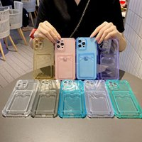 Fashion Card Slots Holder iPhone 13 Cases 12 Pro Max Mini 11 XR Wallet Phone Case Protective Color Girls Pocket Transparent TPU Back Cover